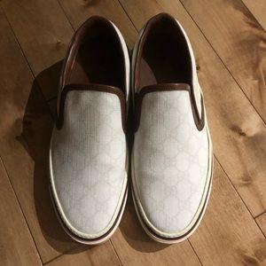 Gucci white logo slip on sneakers